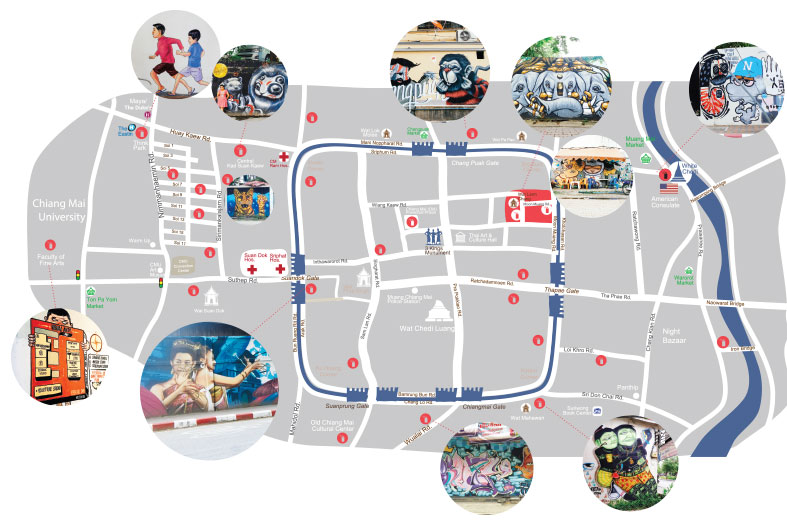 Maps details street art beauty of street art street art chiang you will want to walk everywhere in the city after you have seen our city map of chiang mais most beautiful art pieces gumiabroncs Image collections